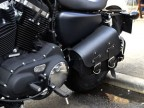 Black Leather Swingarm Single Side Pannier Saddle Bag for Harley Davidson Sportster